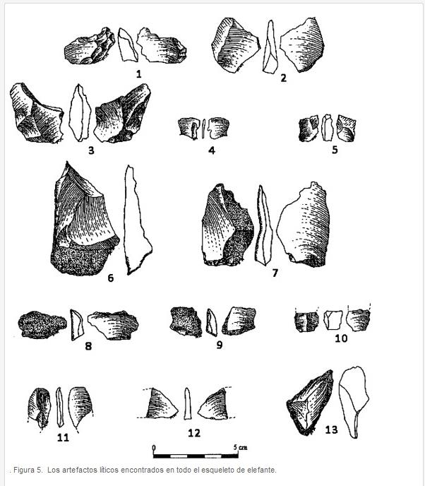 Los artefactos líticos encontrados en todo el esqueleto de elefante