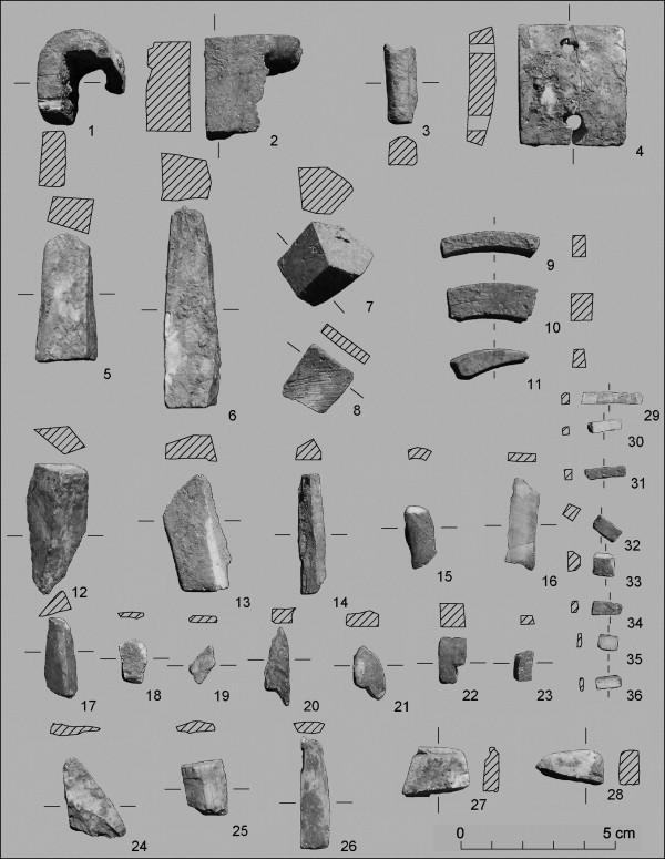 Valencina de la Concepción. Structure IES 402. Objects in ivory and boar tusk